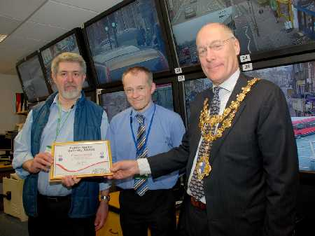 Wandsworth Council: Carl (CCTV operator), Jason Owen (CCTV control room manager) and the mayor Cllr Piers McCausland