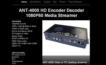 Antrica's new microsite for the ANT-4000 HD encoder/decoder